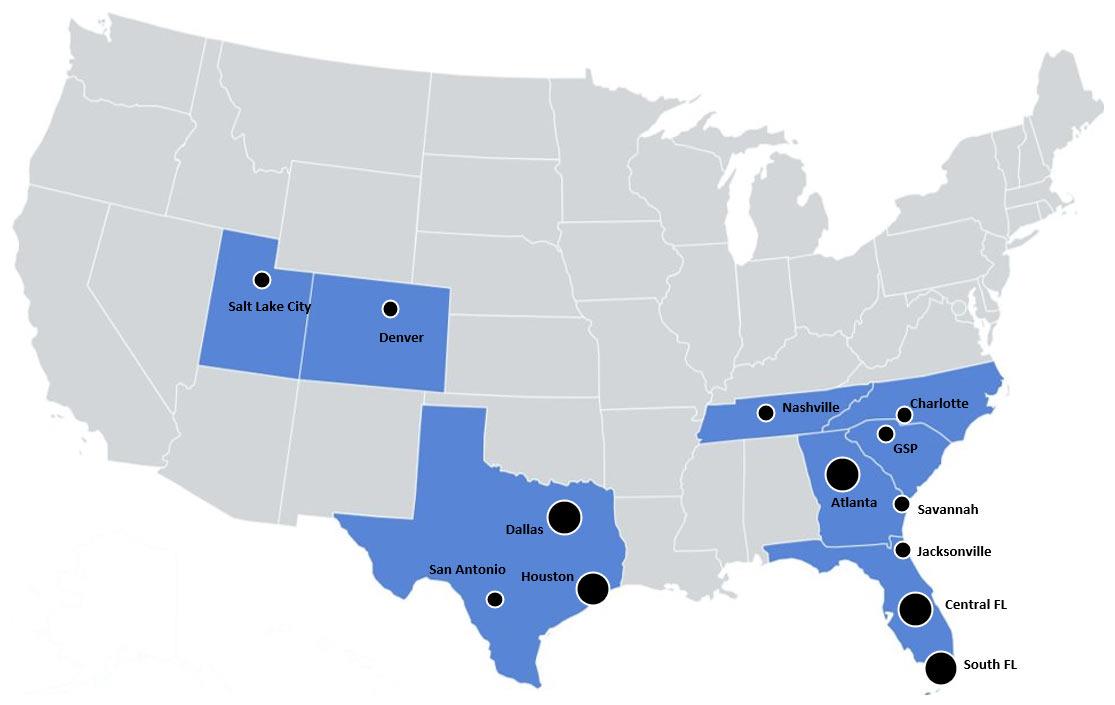 GCP Acquisitions Map