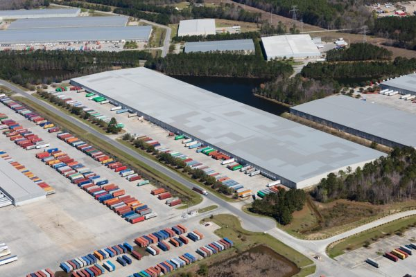 Aerial of Portside in Savannah, GA